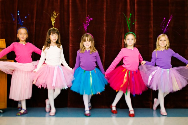Ballerinas Dancing in School Pageant